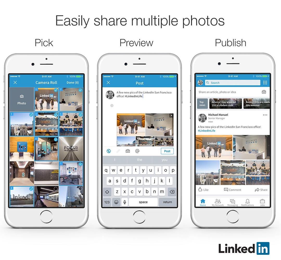 LinkedIn Multiple Photos in one post