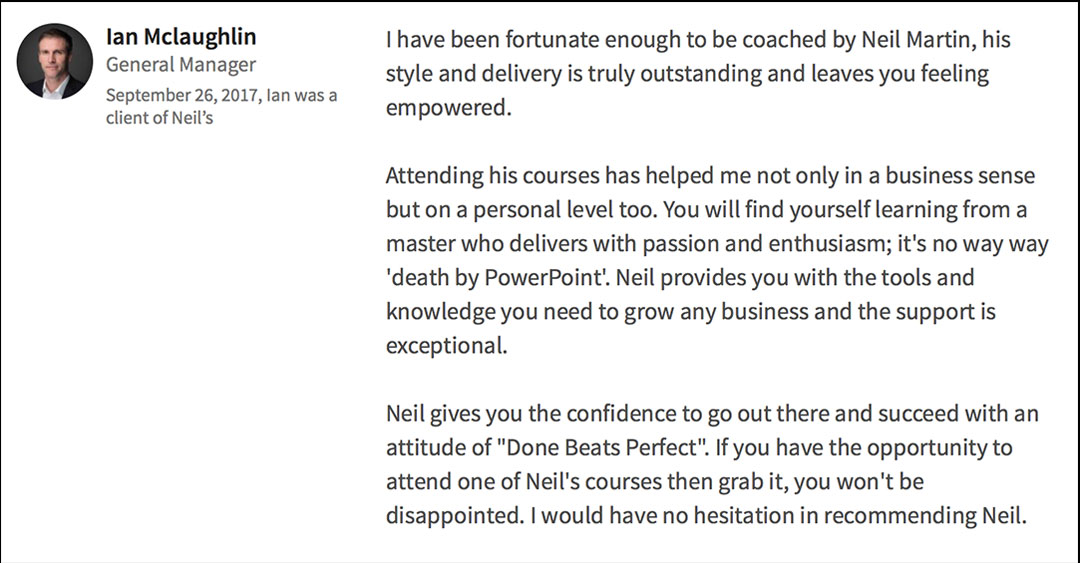 LinkedIn Recommendation of Neil Martin - Speaker, Trainer and Coach
