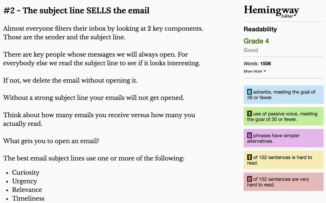 Write better emails with Hemingway